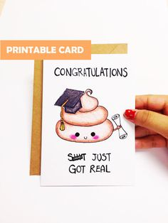 Printable Graduation card funny, Funny graduation card cute, graduation congratulations card, shit just got real card, mature card, pun card by LoveNCreativity on Etsy