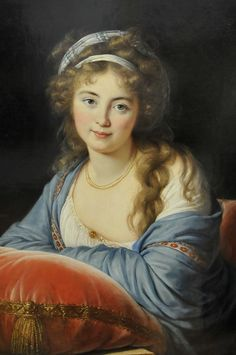"""By Elisabeth Louise Vigée Lebrun:1796. Portrait de la comtesse Skavronskaia (1761-1829) Dame d'honneur of Catherine II of Russia, niece and mistress of Potemkin.  Vigee Lebrun said of her, """"The countess was as sweet and beautiful as an angel. All day she was idle; she had no education, and her conversation was almost nil.  In spite of this, thanks to her ravishing face and an angelic sweetness, she had an invincible charm."""""""