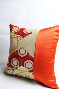 Kimono  Pillow Cover  Holiday Red Japanese Silk by KimonoTango
