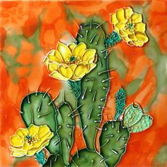 """8""""x8"""" Cactus with Red Flowers"""