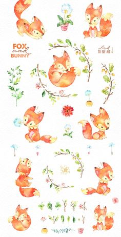 by StarJam on Creative Market Fox & Bunny. by StarJam on Creative Market Character Illustration, Watercolor Illustration, Graphic Illustration, Watercolor Drawing, Watercolor Animals, Scrapbook Stickers, Planner Stickers, Cute Fox, Diy Craft Projects
