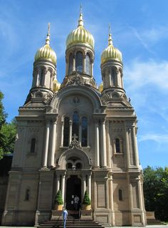 this is a Russian Church on a hill that overlooks Wiesbaden, Germany