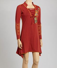 This would be nice worn with pants. Rust Circle Sidetail Dress by Coline USA #zulily #zulilyfinds