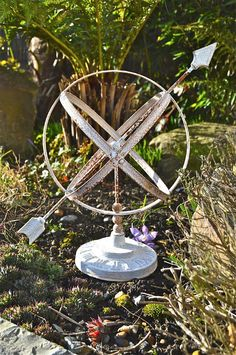 Classic Antique Style Wrought Iron Armillary Sphere Sundial Garden Sculpture