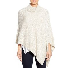 Eileen Fisher Funnel Neck Organic Cotton & Alpaca Poncho ($258) ❤ liked on Polyvore featuring outerwear, natural, petite, eileen fisher, alpaca poncho, alpaca wool poncho, eileen fisher poncho and white poncho