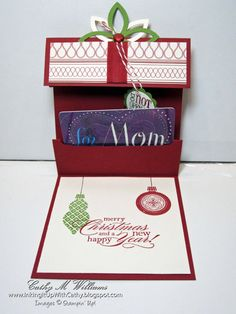 SU! Gift card holder using Ornament Keepsakes and Tags Til Christmas stamp sets (detailed instructions on her website) - Cathy Williams