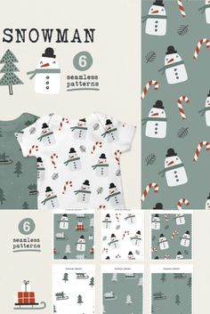 6 seamless patterns with snowmen, sledges and Christmas trees. They are perfect for baby and kids apparel design.