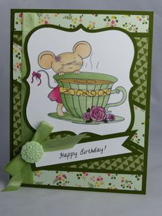 Stampin Up Handmade Greeting Card: Mouse with Teacup Happy Birthday Card, Tea, Mice, Daughter, Granddaughter Mother Mom Sister Friend