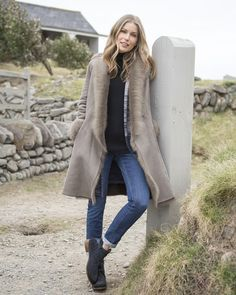 Add a little sophistication to your wardrobe with this British-made sheepskin coat, the height of throw-it-on luxury. Shop now. Sheepskin Coat, Outerwear Women, Leather Boots, Knitwear, Duster Coat, Autumn Fashion, Style Inspiration, My Style, Sweaters