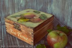 The Apple Orchard Vintage  Tea Box wooden Tea by iLoveCreations, £27.99