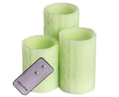 Flameless Knitted Pillar Candles 3-Pack - Green
