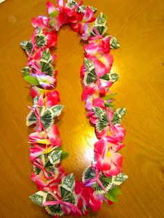 Pink Graduation Money Lei with butterflies