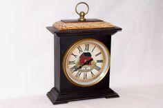 Mantel Clock Primitive Folk Art Red Saltbox Sheep Home Decor Rjpe | eBay