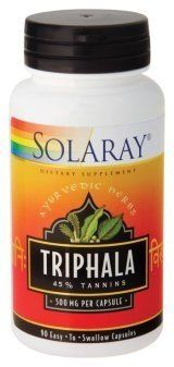 """Triphala Extract 500mg (Ayurvedic) - 90 - Capsule by Solaray. Save 28 Off!. $13.55. Description:         Triphala, the most    widely used herbal blend in Ayurveda, was valued by the ancient Hindus    as """"good manager of the hosue"""". Triphala contains equal parts of three    fruits: Terminalia chebula, Terminalia belerica, and Embelica    officinalis. The triphala fruit extract in this product is guaranteed to    contain 45% tannins.              Size:          90ct 500mg   ..."""