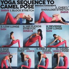 "YOGA SEQUENCE TO CAMEL POSE: To warm up, look for the ""BACK BENDING WARM UP""…"