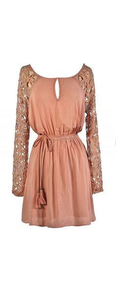 Longsleeve Lace Sleeve Dress in Blush  www.lilyboutique.com