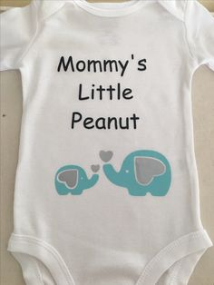 Elephant themed onesie made with heat transfer vinyl.  Perfect baby shower gift!