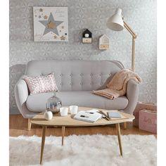 "Decorating Vintage Sofa ""Iceberg"" in grau von Maison du Monde Home Living Room, Living Room Decor, Bedroom Decor, Bedroom Sofa, Living Area, Scandinavian Sofas, Scandinavian Style, Vintage Sofa, Vintage Coffee"