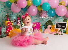 Pineapple and flamingo first birthday cake smash. Flamingo Cake, Flamingo Birthday, Birthday Cake Smash, First Birthday Cakes, Pink Yellow, Aqua, Turquoise, Summer Birthday, Birthday Parties