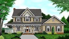 I wish......Elevation of Country   Farmhouse  House Plan 96832