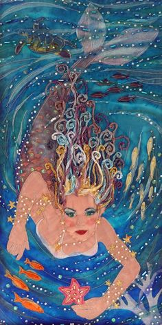 Mermaid Queen textile art applique mounted by GlistenAndGoldArts, £250.00