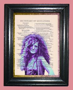 Janis Joplin Art Deco  Vintage Dictionary Page by CocoPuffsArt, $9.99