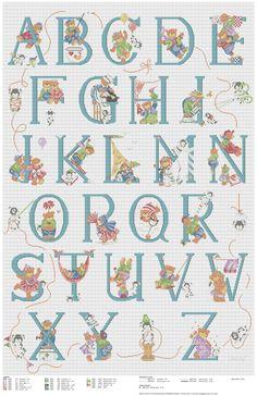 Cross stitch / Point de croix / Punto cruz / Punto croce Bears ABC / abecedaire / abecedario / alfabeto - chart / grille / scheme.