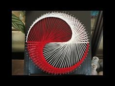 Video tutorial on DIY Yin Yang string art. layer is partially under the first. String Art Names, String Art Diy, String Art Heart, String Art Templates, String Art Tutorials, String Art Patterns, Arte Linear, Spirograph, Diy Art Projects