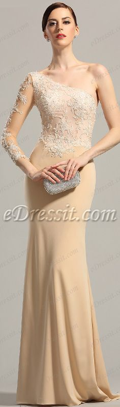 Gorgeous lace one sleeve evening dress! #edressit #gown #beige #formal_dress #red_carpet