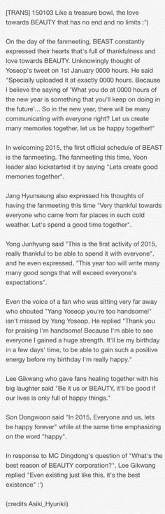 BEAST 4th Fanmeeting New Year Party ♡ #ctto