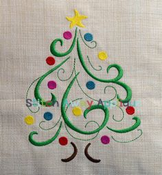Items similar to Swirly Christmas Tree Machine Embroidery Design on Etsy Machine Embroidery Applique, Learn Embroidery, Vintage Embroidery, Embroidery Files, Embroidery Stitches, Embroidery Patterns, Christmas Applique, Christmas Embroidery, Learning To Embroider