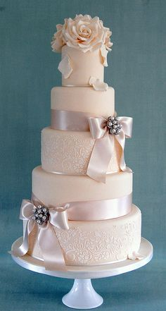 Mia by Sweet Tiers Cakes (Hester), via Flickr    I love how elegant this is with only every other tier with the floral print.