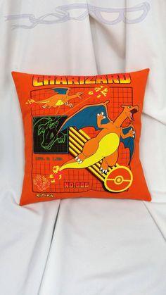 Pokemon orange Charizard t-shirt made into a pillow cover.