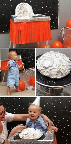 This is the cutest FIRST Birthday Party for a boy. Make a High Chair Rocket for a Rocket Man First Birthday Party via @PagingSupermom #birthdayparty #firstbirthday