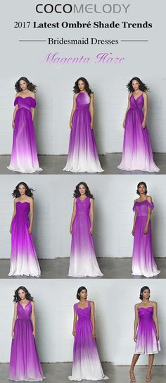 Latest Ombre Shade Trends Magenta Haze Bridesmaid Dresses. #bridesmaiddresses #bridesmaids #customdresses #ombredresses #cocomelody #chiffondresses