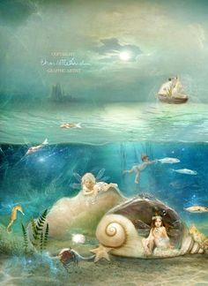 Pinzellades al món: Charlotte Bird: fantàstic món de fades Mermaids And Mermen, Fairytale Art, Fairy Art, Fairy Room, Flower Fairies, Mermaid Art, Magical Creatures, Fantasy Art, Fairy Tales