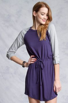 Roll Up Knit Sleeve Dress, Soft Cotton & Rayon 2 Tone Contrasted Casual Dress #YaLosAngeles