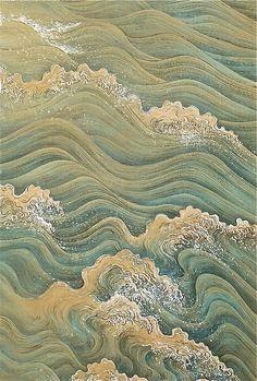 Takata Kiseki, Painting of Waves, kakemono, silk, (detail) Japanese Artwork, Japanese Painting, Japanese Prints, Chinese Painting Flowers, Inspiration Art, Art Inspo, Art Chinois, Art Asiatique, Art Japonais