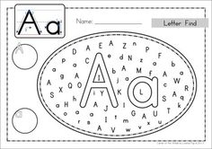 Uppercase and Lowercase Letter Find... use dot paint, markers, highlighters, stickers, etc Could also laminate them so that they can be reused. $