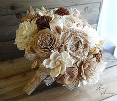 Ready to Ship ~~~ Cedar Rose, Wheat and Sola Flower Bouquet, with Jute, Burlap…