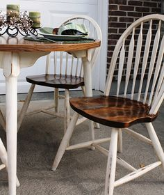 Most people tend to slap on a couple of coats of varnish and end up with yellowish pine furniture that is ordinary and doesn't really add style to a home. But there are plenty of other ways to finish pine furniture and this pine dining set is just one example of how you can paint and stain pie.