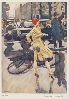fietsen op glad ijs by Pol Dom (Dutch Pictures Images, Photos, Car Posters, Dutch Artists, Automotive Art, My Ride, Character Illustration, Vintage Postcards, Vintage Designs