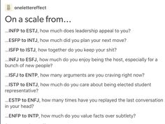 Mbti on a scale from...