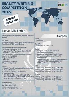 #LombaCerpen #RWrC #UNY #Yogyakarta Reality Writing Competition 2016 Lomba Cerpen Tingkat Nasional  DEADLINE: 18 April 2016  http://infosayembara.com/info-lomba.php?judul=reality-writing-competition-2016-lomba-cerpen-tingkat-nasional