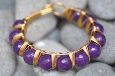 Purple agate semi precious stones wire wrapped bangle on Etsy, $29.00