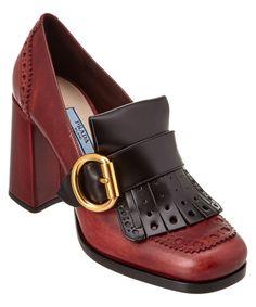 PRADA PRADA CALF LEATHER BROGUE LOAFER PUMP'. #prada #shoes #pumps & high heels