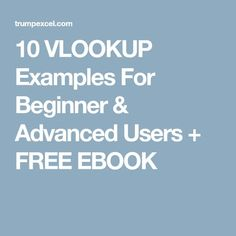 10 VLOOKUP Examples For Beginner & Advanced Users + FREE EBOOK