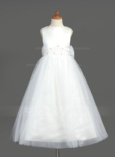 A-Line/Princess Scoop Neck Ankle-Length Organza Satin Tulle Flower Girl Dress With Beading Bow(s) (010005883)