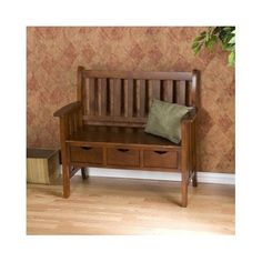 Entryway Storage Bench Accent  Mission Wood Oak Deacon Cottage Foyer Seat Stool #MissionStyle