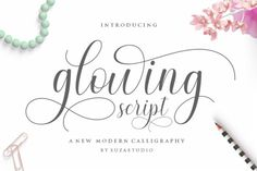 Glowing is a romantic and elegant handwritten font. Dainty and joyful, this font will be ideal for writing wedding invitations,... How To Write Wedding Invitations, Wedding Fonts, Wedding Stationery, Wedding Stuff, Handwritten Fonts, New Fonts, Cursive Fonts, Swirly Fonts, Commercial Fonts